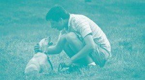 Mann streichelt Labradorwelpe auf Wiese. Bildquelle CC flickr.com riekhavoc