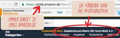 Grafik Amazon smile Anleitung :: Grafik, die zeigt, dass im Adressfeld smile.amazon.de stehen muss statt www.amazon.de.