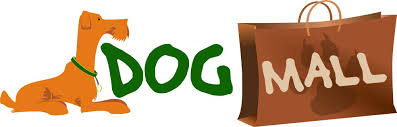 Logo dogmall :: Logo dogmall.de. Orange dog on the left, green the word Dog, on the right a brown bag with the word Mall.