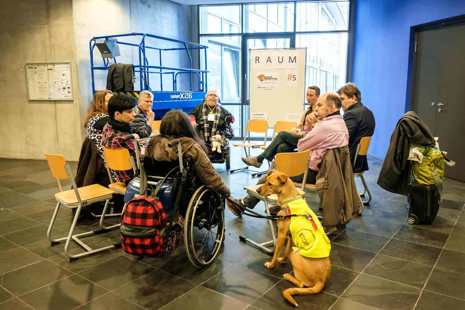 Photo of a working meeting :: A group of eight adults sits together in a circle in a room, seemingly engrossed in a work conversation. A wheelchair user is accompanied by an assistance dog sitting in the foreground of the image.
