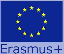 Grafik Erasmus + :: Auf dem Bild sieht man die Flagge der Europäischen Union und darunter steht Erasmus +