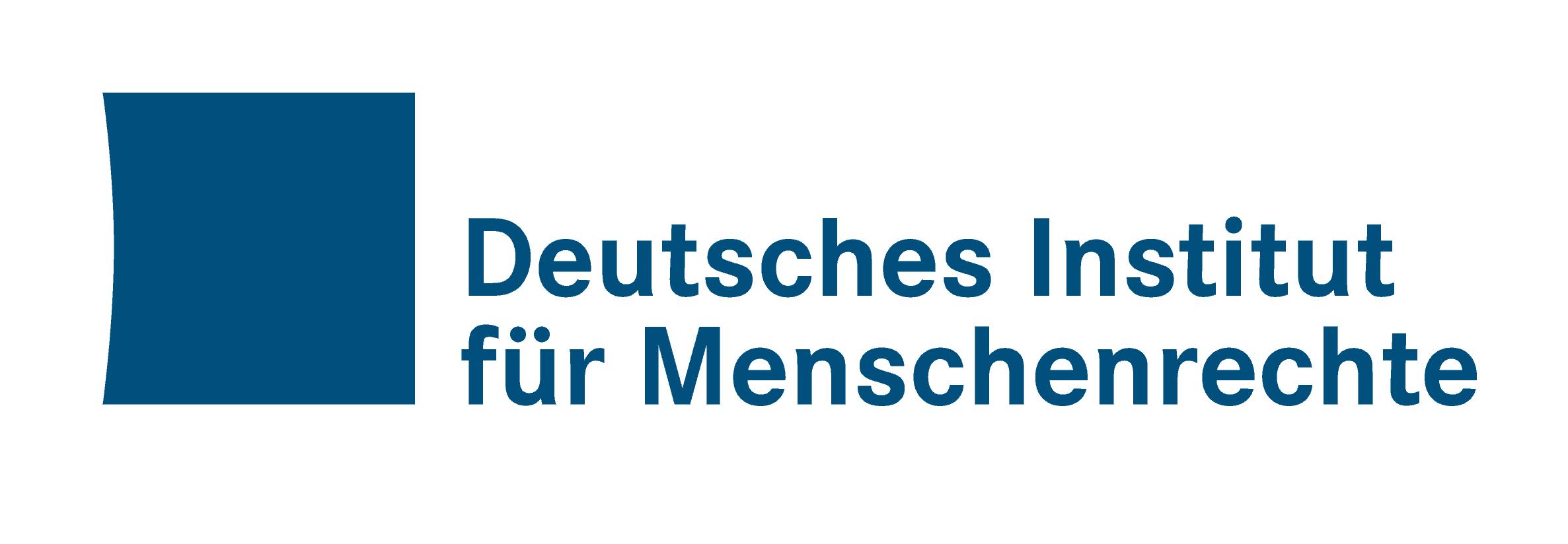 Logo des Deutschen Instituts für Menschenrechte :: Neben einem dunkelblauen Quadrat, bei dem die linke Seite eingewölbt ist steht  Deutschen Instituts für Menschenrechte.