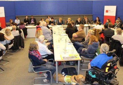 Redner und Publikum der Informationsveranstaltung für Assistenzhundteams im Bundestag