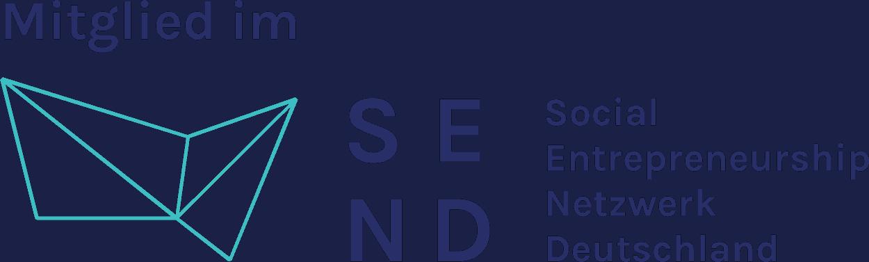 Logo Mitglied im SEND :: Über einem gefalteten Papierstück steht in dunkelblau Mitglied. Daneben steht SE und darunter ND und neben den großen Buchstaben steht Social Entrepreneurship Netzwerk Deutschland.