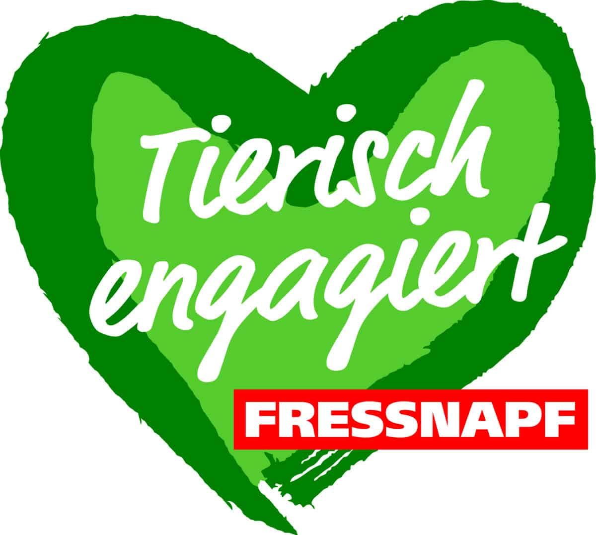 Logo Tierisch Engagiert by Fressnapf Germany :: On green heart the words Tierisch Engagiert. Bottom right in red box the word Fressnapf.