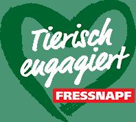 Logo Tierisch ENgagiert/Fressnapf :: Auf einem grünen Herz steht der Schriftzug Tierisch engagiert in weiß. Rechts unten das Wort Fressnapf in roter Box.
