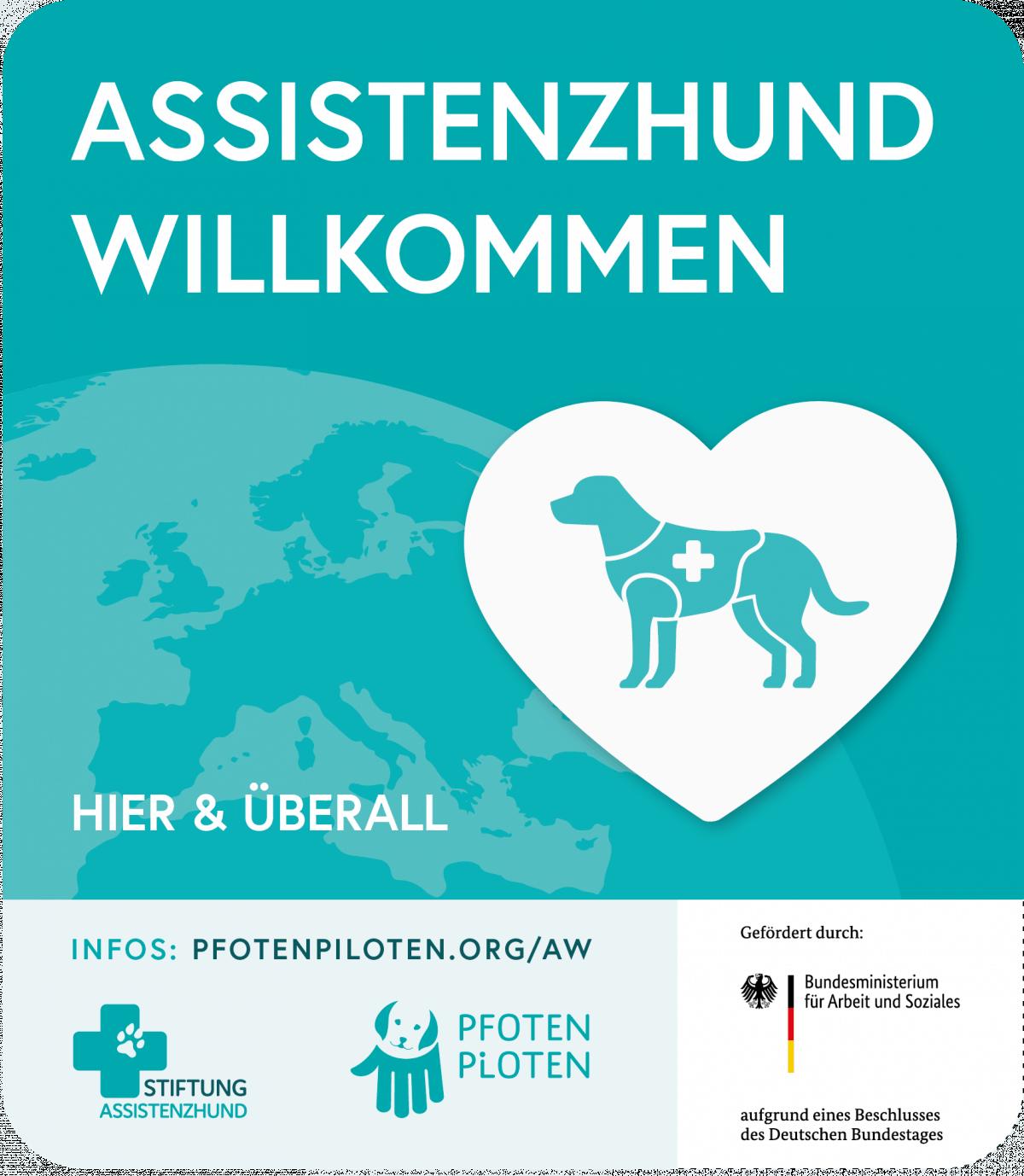 """Türaufkleber """"Assistenzhund Willkommen"""""""