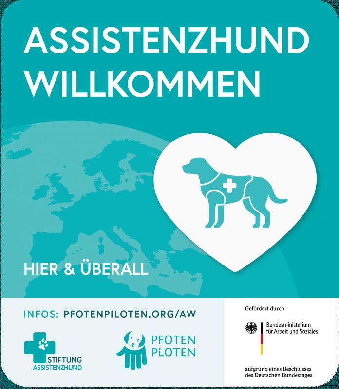 """Türaufkleber """"Assistenzhund Willkommen"""" markiert assistenzhundfreundliche Orte"""