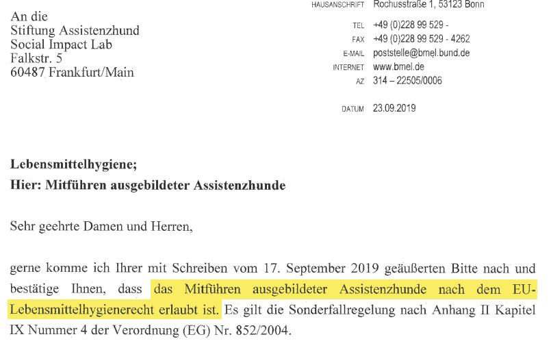 Auszug aus Brief vom BMEL