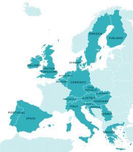 Karte Europas mit Unterstützerländern markiert
