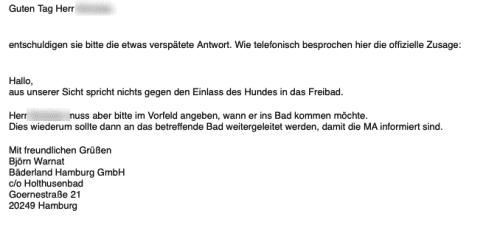 Bestätigung Bäderland Hamburg