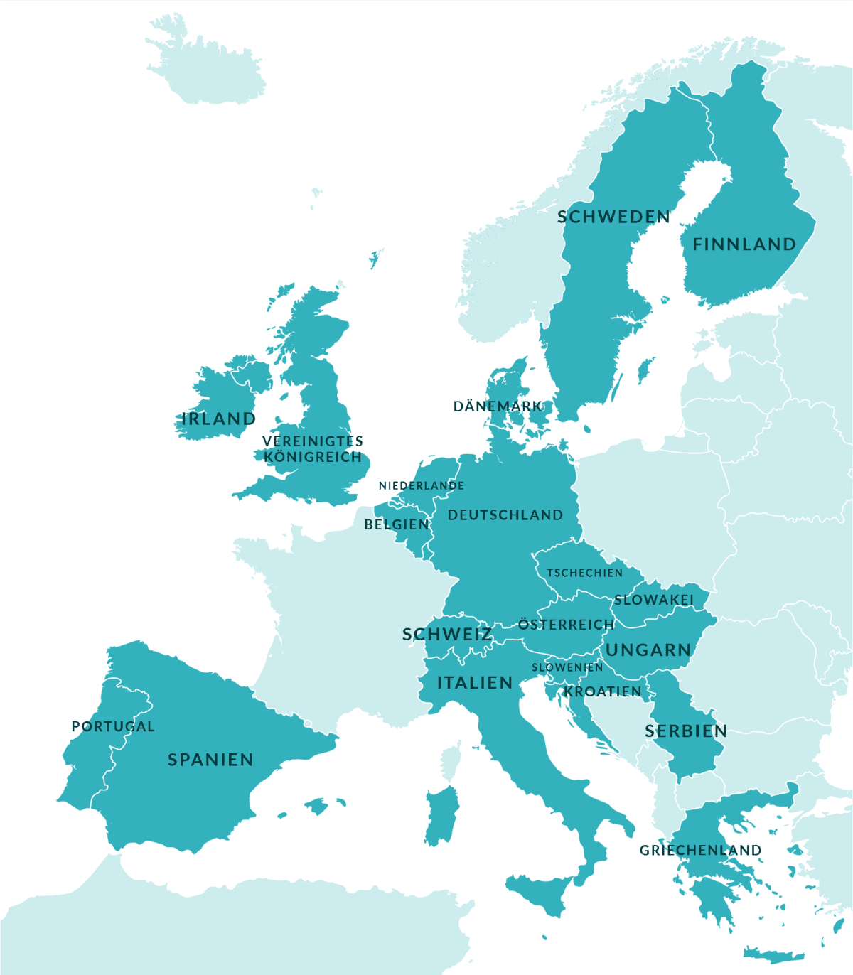 Europe map with L.E.A.D.ers :: Map of Europe. Most countries are colored dark green-blue, representing countries with L.E.A.D. partners.