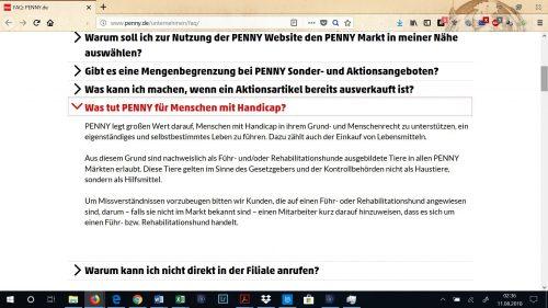 Erklärung für Assistenzhunde auf der Penny.de Webseite