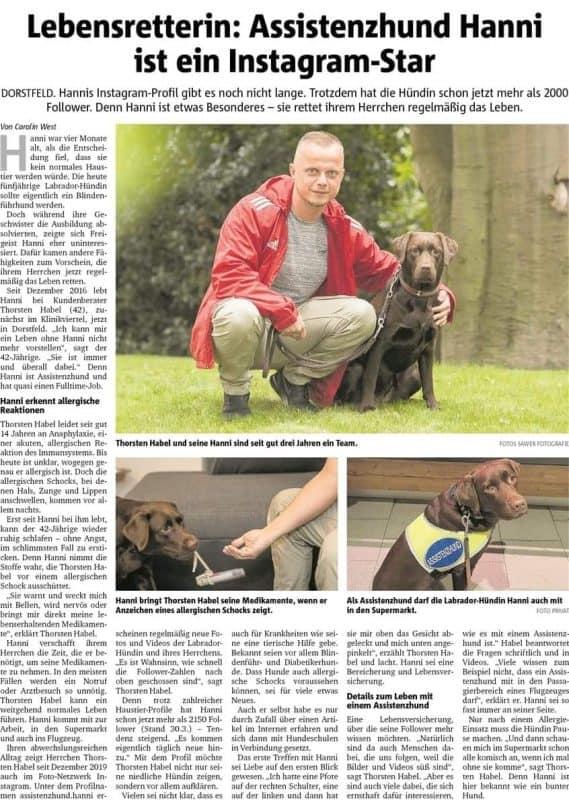 """Ganzseitiger Zeitungsartikel mit Überschrift """"Lebensretterin: Assistenzhund Hanni ist ein Instagram-Star"""" und drei Bildern von Hund und Halter."""