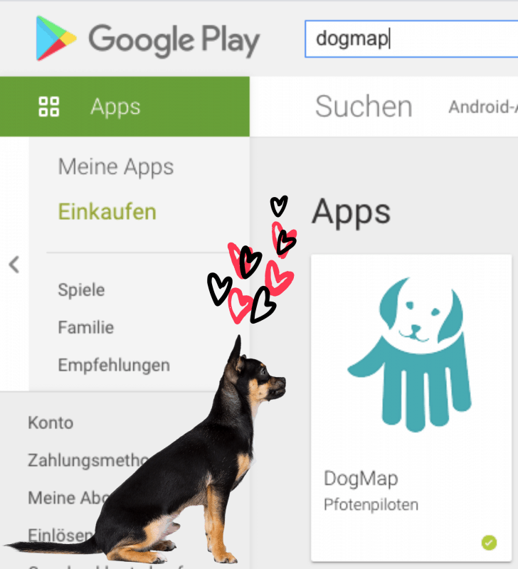 Screenshot from the Google Play Store shows the DogMap App of the Pfotenpiloten. To the left, a sitting sheepdog is admiring her while red and black hearts fly towards her.
