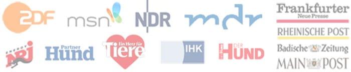 Medienlogos :: Logos von ZDF, MSN, NDR, MDR, Herz für Tiere, Energy Radio, Der Hund, PartnerHund, IHK, Frankfurter Neue Presse, Rheinische Post, Main Bote, Badische Zeitung.